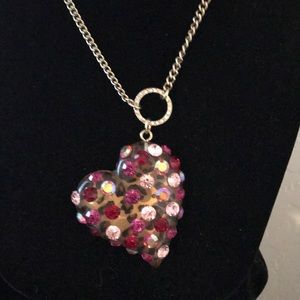 Pretty multi rhinestone heart pendant